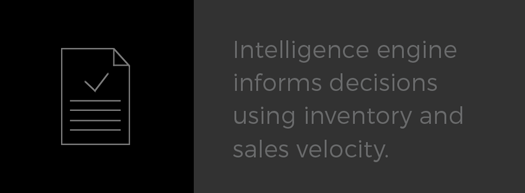 "An icon showing how Ragtrades helps fashion businesses track the sales velocity of merchandise. The caption reads ""Intelligence engine informs decisions using inventory and sales velocity."""